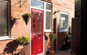 Red Composite Door with Surround Panels