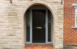 Black uPVC Door with Side Panels