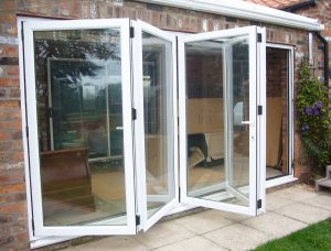 White Aluminium Bi-Folding Doors